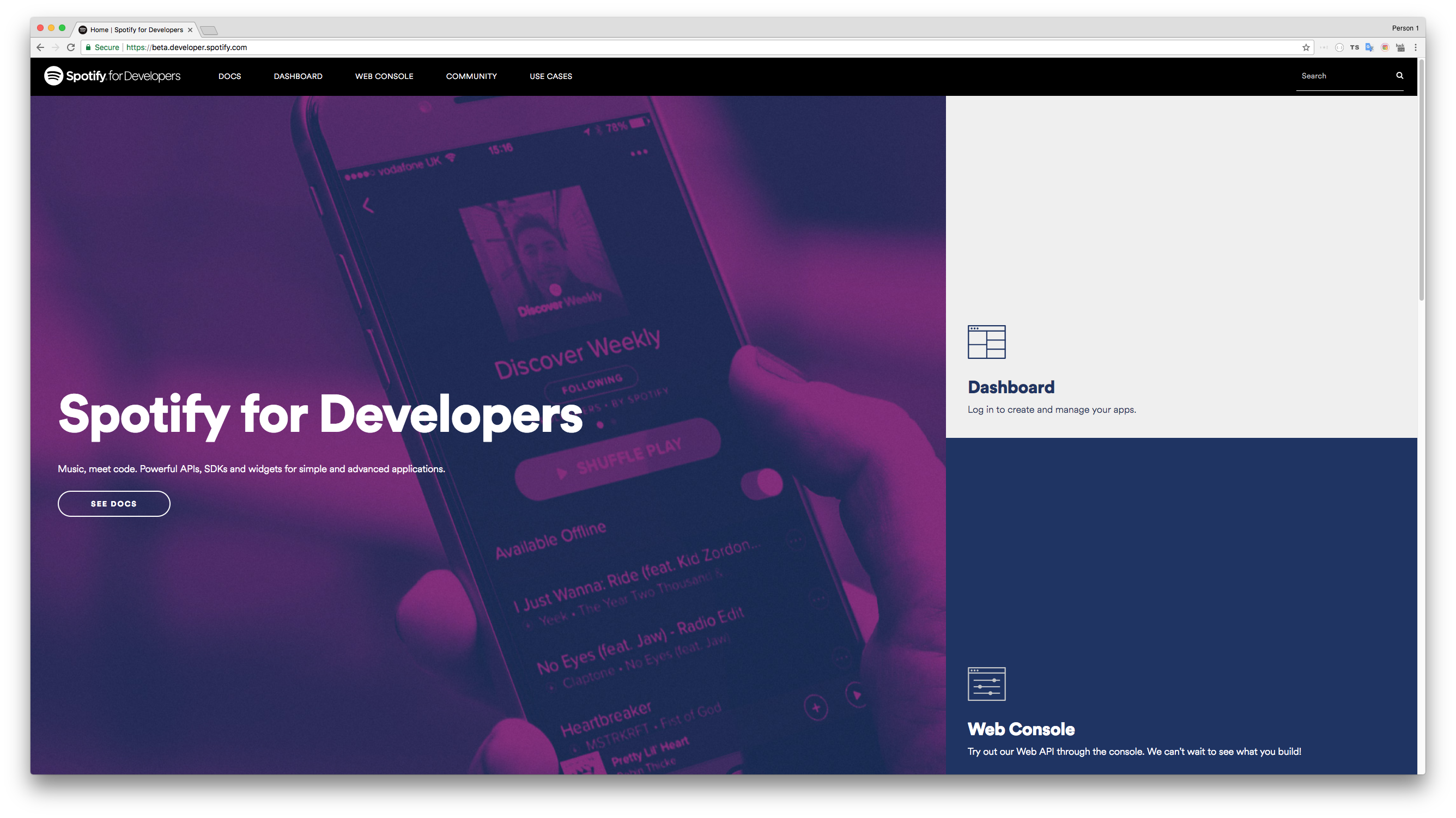 Spotify for Developers homepage