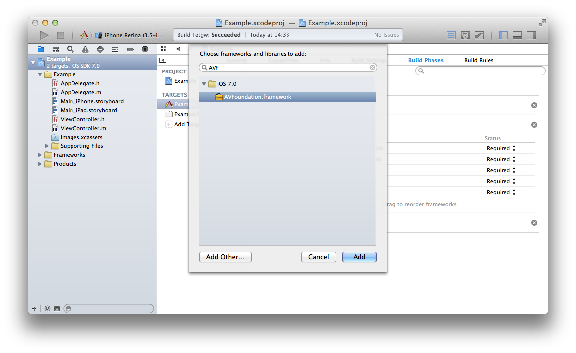 xcode choose framework