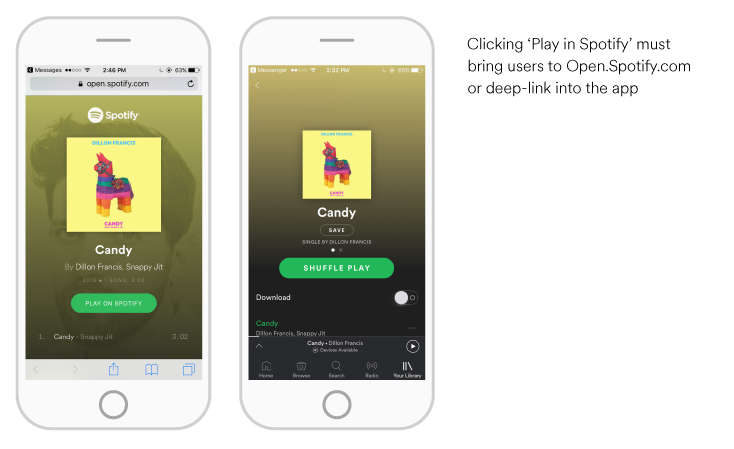 Clicking 'Play in Spotify' must bring users to open.spotify.com or deep-link into the app.