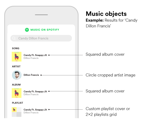 Example of search view with search results. Note squared album cover, circle cropped artist image and custom playlist cover or a 2x2 playlist grid.